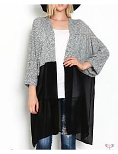 baratos Suéteres de Mulher-Mulheres Diário Sólido Manga Longa Longo Carregam, Decote V Primavera Cinzento M / L / XL