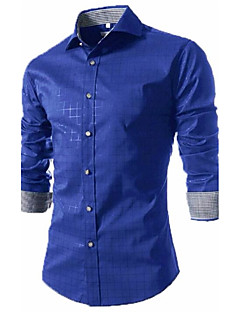 Men's Party Work Simple Spring Fall Shirt,Houndstooth Shirt Collar Long Sleeves Polyester Medium