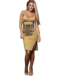 レディース セクシー シンプル クラブ ボディコン ドレス,プリント ディープUネック 膝丈 ノースリーブ ポリエステル スパンデックス 夏 ミッドライズ 伸縮性あり 薄手