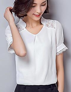 Damen Solide Einfach Lässig/Alltäglich Hemd,V-Ausschnitt Kurzarm Andere