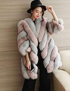 cheap Women's Furs & Leathers-Women's Simple Casual Plus Size Faux Fur Fur Coat-Color Block