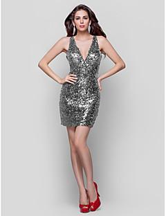 billige Paljettkjoler-Tube / kolonne Stikkende halslinje Kort / mini Paljetter Cocktailfest / Ferie Kjole med Paljett Plissert av TS Couture®