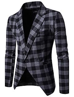 Herren Verziert Einfach Arbeit Blazer,Steigendes Revers Herbst Lange Ärmel Standard Baumwolle
