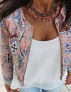 Women's Daily Simple Casual Spring Jacket,Print Round Neck Long Sleeve Regular Polyester