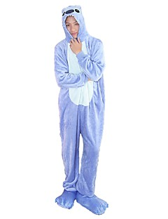 billige Kigurumi-Kigurumi-pysjamas med tøfler Blå Monster Tegneserie Onesie-pysjamas Kostume Flannelstoff Blå Rosa Cosplay Til Pysjamas med dyremotiv
