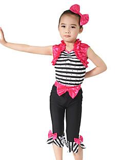 levne Dětské taneční kostýmy-Dětské taneční kostýmy Úbory Výkon Spandex Elastický elastan Elastický satén Mašle Křišťály / Bižuterie Volány Bez rukávů Přírodní Vrchní