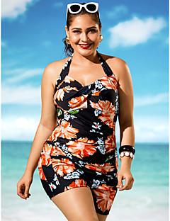 billige Bikinier og damemote 2017-Dame Store størrelser Stikkende halslinje En del - Trykt mønster, Boy Leg Blomstret
