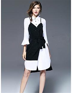 Damen T Shirt Kleid-Ausgehen Lässig/Alltäglich Solide Gestreift Hemdkragen Knielang 3/4 Ärmel Polyester Sommer Hohe Hüfthöhe