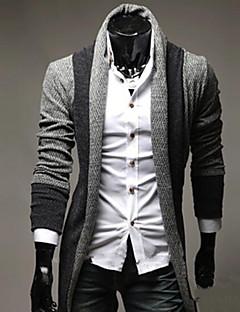 tanie Męskie swetry i swetry rozpinane-Męskie Moda miejska Kołnierzyk koszuli Rozpinany Jendolity kolor Długi rękaw