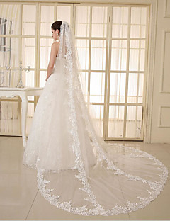 cheap Wedding Veils-One-tier Lace Applique Edge Wedding Veil Elbow Veils Chapel Veils 53 Appliques Sparkling Glitter Tulle