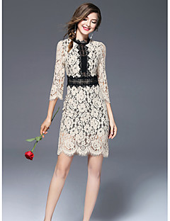 Women's Going out Cute Sheath Dress,Print Stand Above Knee Half Sleeves Polyester Fall Mid Rise Micro-elastic Medium