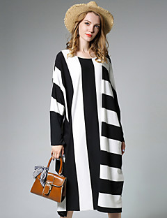 Women's Plus Size Simple Loose Dress,Striped Round Neck Midi Long Sleeves Cotton Polyester Fall Mid Rise Micro-elastic Medium