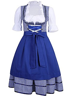 cheap Halloween & Carnival Costumes-Oktoberfest/Beer Cosplay Cosplay Costume Outfits Women's Adults' Oktoberfest Festival / Holiday Halloween Costumes Blue Vintage