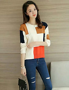 Women's Going out Casual/Daily Simple Cute Regular Pullover,Solid Color Block Round Neck Long Sleeves Wool Fall Winter Medium Thick
