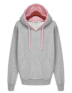 Women's Casual/Daily Simple Hoodie Solid Color Block Hooded Micro-elastic Cotton Long Sleeve Fall