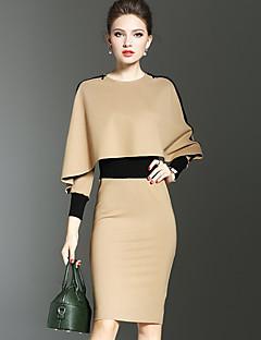 Damen Bodycon Hülle Kleid-Ausgehen Lässig/Alltäglich Einfach Street Schick Anspruchsvoll Einfarbig V-Ausschnitt Knielang Langarm Polyester