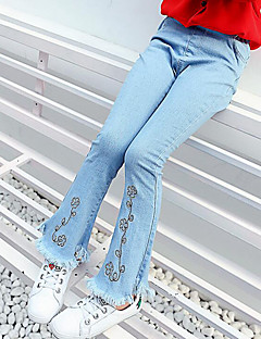 Girls' Embroidered Jeans,Rayon Spring Fall Floral Light Blue