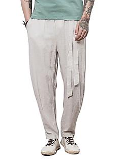 billige Herrebukser og -shorts-Herre Fritid Chinoiserie Mikroelastisk Rett Chinos Bukser, Mellomhøyt liv Lin Ensfarget Vår Høst