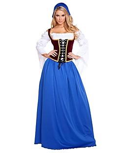 billige Halloweenkostymer-Stuepike Kostumer Oktoberfest bayerske Korsett Cosplay Kostumer Kostume Dame Voksne Oktoberfest Festival / høytid Drakter Blå Vintage