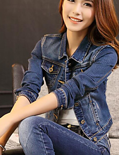 Women's Daily Simple Casual Spring Fall Denim Jacket,Solid Shirt Collar Long Sleeve Short Polyester