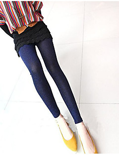 Mulheres Sólido Cor Única Metálica Legging