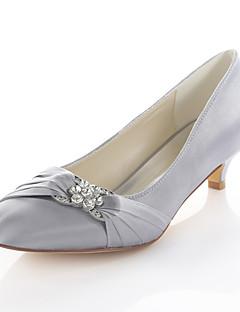 hesapli -Kadın's Ayakkabı Streç Saten Bahar / Sonbahar Temel Topuklu Düğün Ayakkabıları Minik Topuk Yuvarlak Uçlu Elbise / Parti ve Gece için