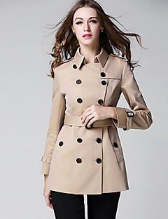 Dames Eenvoudig Herfst Trenchcoat,Casual/Dagelijks Effen Overhemdkraag Lange mouw Normaal Polyester