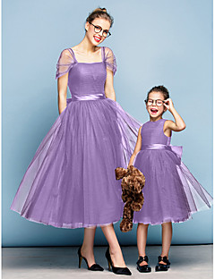 baratos Roupas Infantis para Casamentos-Princesa Decote Quadrado Longuette Tule Elegante Baile de Formatura / Evento Formal Vestido com Laço(s) / Franzido de TS Couture®