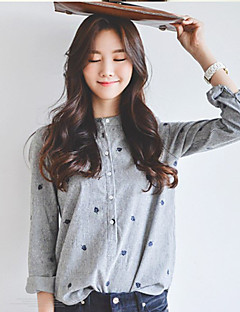 Women's Daily Casual Summer Shirt,Solid Stand Long Sleeves Cotton Thin