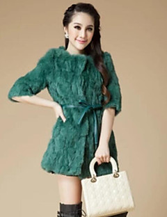 Women's Club Going out Sexy Winter Fur Coat,Solid Stand Long Sleeve Long Raccoon Fur