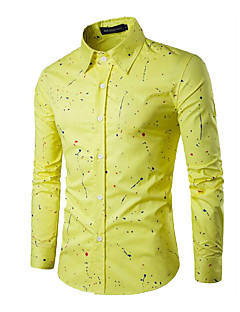 Men's Casual/Daily Simple Spring Fall Shirt,Solid Print Square Neck Long Sleeves Cotton