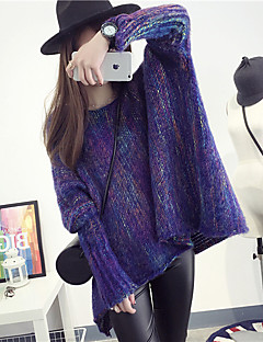 baratos Suéteres de Mulher-Mulheres Manga Longa Pêlo de Coelho Algodão Pulôver Estampado Pêlo de Coelho Algodão