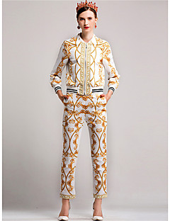 Women's Daily Casual Fall T-shirt Pant Suits,Solid Print V Neck Long Sleeve Nylon
