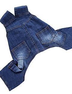 billiga Hundkläder-Hund Jumpsuits Jeansjackor Byxor Hundkläder Enfärgad Blå Denim Kostym För husdjur Herr Dam Fest Ledigt/vardag Cowboy Födelsedag Mode