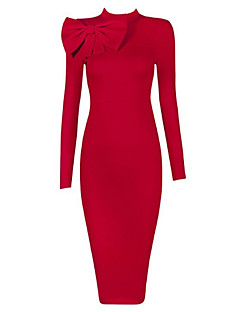 Women's Going out Bodycon Dress,Solid Crew Neck Midi Mini Sleeveless Polyester Spring Fall High Rise Stretchy Medium