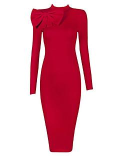 אביב סתיו פוליאסטר ללא שרוולים מידי מיני צווארון עגול קצר אחיד ליציאה שמלה צינור נשים,גיזרה גבוהה סטרצ'י (נמתח) בינוני (מדיום)