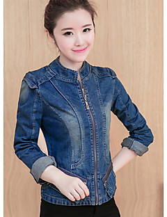 Women's Going out Simple Casual Winter Denim Jacket,Solid Stand Long Sleeve Short Polyester