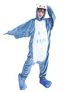 billige Kigurumi-Kigurumi-pysjamas med tøfler Ugle Onesie-pysjamas Kostume Flannelstoff Blå Cosplay Til Pysjamas med dyremotiv Tegnefilm Halloween