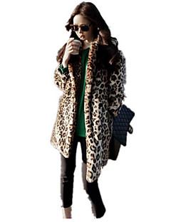 Damă Rever Clasic Palton Piele Casul/Zilnic Simplu,Leopard Manșon Lung Toamnă Iarnă-Lung Bumbac