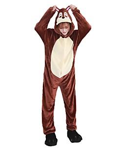 billige Kigurumi-Voksne Kigurumi-pysjamas med tøfler Jordekorn Onesie-pysjamas Flannelstoff Cosplay Til Damer og Herrer Pysjamas med dyremotiv Tegnefilm Festival / høytid kostymer