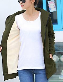 tanie Damskie bluzy z kapturem-Damskie Na co dzień Bawełna Bluza z Kapturem - Jendolity kolor