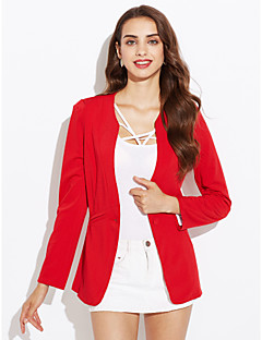 cheap -Women's Daily Simple Casual Spring Fall Regular Suits, Solid Shirt Collar Polyester