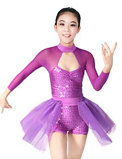 Ballet Dragter Dame Børne Ydeevne Spandex Polyester Organza Palliet-belagt Sider-Drapperet Slidse 2 Dele Langt Ærme NaturligTrikot