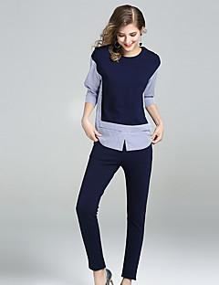 Damen Gestreift Einfach Lässig/Alltäglich Arbeit T-Shirt-Ärmel Hose Anzüge,Rundhalsausschnitt Herbst ¾ Ärmel Dehnbar