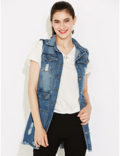 Women's Daily Street chic Fall Slim Long Holes Denim Vest Jackets