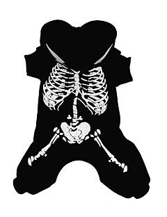 billiga Hundkläder-Hund Dräkter / Kostymer Jumpsuits Hundkläder Dödskalle Svart Cotton Kostym För husdjur Herr Dam Cosplay
