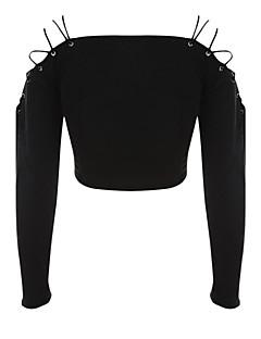 tanie Swetry damskie-Damskie Bateau Flare rękawem Pulower - Bez pleców, Jendolity kolor Długi rękaw