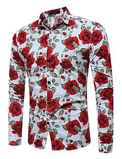 billige Herremote og klær-Bomull Langermet,Klassisk krage Skjorte Rutet Chinoiserie Fritid/hverdag Herre