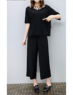 Women's Casual/Daily Simple Summer Blouse Pant Suits,Solid V Neck Short Sleeve