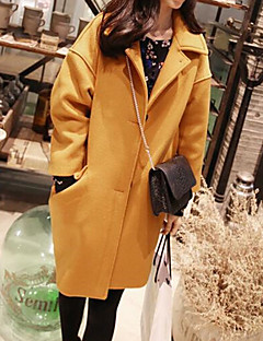 Women's Daily Simple Casual Winter Coat,Solid Shirt Collar Long Sleeve Long Polyester